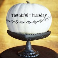 White pumpkin with the words THankful Thursday