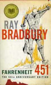 Cover of Fahrenheit 451, showing a paper man on fire.
